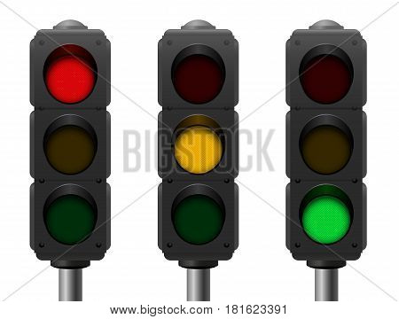 Traffic lights with three different signals - red, yellow, green - realistic three-dimensional isolated vector illustration on white background.