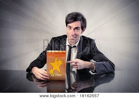 Businessman advertising a product