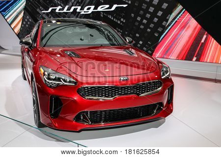 NEW YORK-APRIL 12: Kia Stinger shown at the New York International Auto Show 2017, at the Jacob Javits Center. This was Press Preview Day One of NYIAS, on April 12, 2017  in New York City