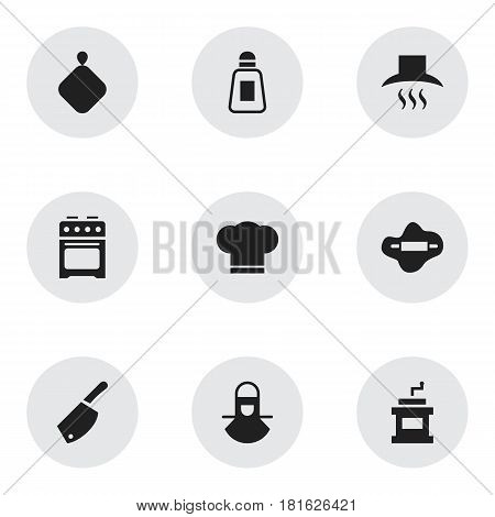 Set Of 9 Editable Cook Icons. Includes Symbols Such As Mocha Grinder, Rocker Blade, Pot-Holder And More. Can Be Used For Web, Mobile, UI And Infographic Design.