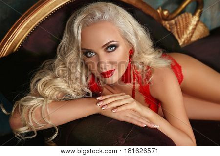 Beautiful Fashion Smiling Woman With Red Lips Makeup And Wavy Hair Style, French Manicured Nails. Gl