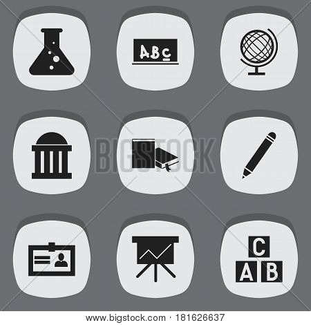 Set Of 9 Editable University Icons. Includes Symbols Such As Chart Board, Courtroom, Pencil And More. Can Be Used For Web, Mobile, UI And Infographic Design.