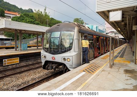 HONG KONG - CIRCA NOVEMBER, 2016: an MTR train on the East Rail Line. The Mass Transit Railway is the rapid transit railway system of Hong Kong.