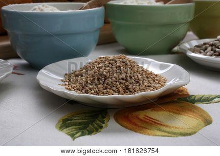 Wheat in ceramic plate