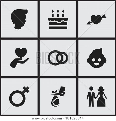 Set Of 9 Editable Kin Icons. Includes Symbols Such As Woman Sign, Boy, Love And More. Can Be Used For Web, Mobile, UI And Infographic Design.