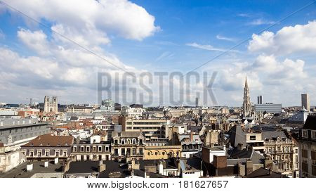 Skyline of the city of Brussels Belgium