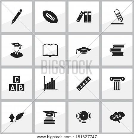 Set Of 16 Editable School Icons. Includes Symbols Such As Diplomaed Male, Mind, Book And More. Can Be Used For Web, Mobile, UI And Infographic Design.