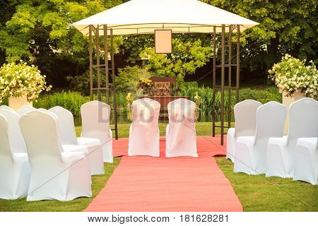 Many Wedding Chairs With White Elegant Covers