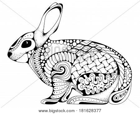 Zen tangle stylized rabbit. Hand Drawn vintage doodle vector illustration for Easter. Sketch for tattoo animal collection. For adult anti stress coloring book pages.