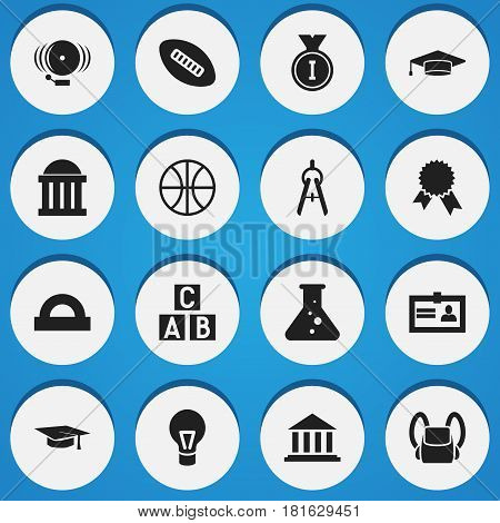 Set Of 16 Editable Science Icons. Includes Symbols Such As Basket Play, Courtroom, Math Tool And More. Can Be Used For Web, Mobile, UI And Infographic Design.