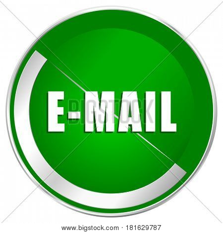 Email silver metallic border green web icon for mobile apps and internet.