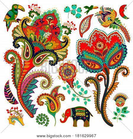Colorful decorative elements. Paisley, decorative flowers bird elephant