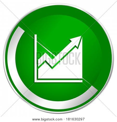 Histogram silver metallic border green web icon for mobile apps and internet.