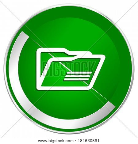 Folder silver metallic border green web icon for mobile apps and internet.