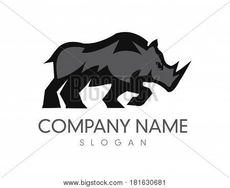 Black and grey rhino logo on White background