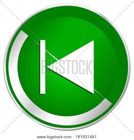 Prev silver metallic border green web icon for mobile apps and internet.