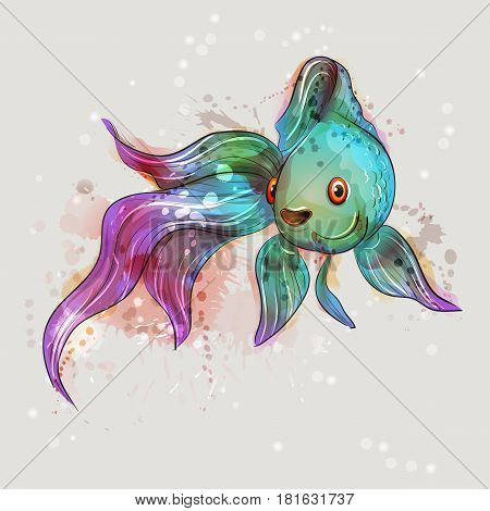 Beautiful marine fish. Goldfish. Valuehost emerald-purple. Watercolor vector.