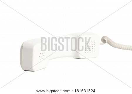 Telephone receiver and cord on white background. Clipping path