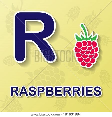 Raspberry symbol with letter R and word