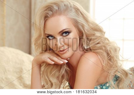 Beautiful Gorgeous Woman Bride Portrait. Beauty Makeup. Long Curly Hair Style. Manicured Nails. Fash
