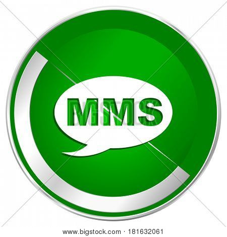 Mms silver metallic border green web icon for mobile apps and internet.