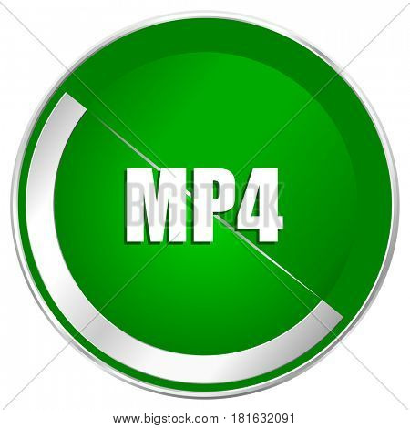 MP4 silver metallic border green web icon for mobile apps and internet.