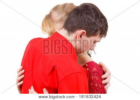 Couple. Woman Is Sad And Being Consoled By His Partner