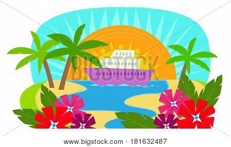 Clip art of a cruise ship with a view of a tropical island. Eps10