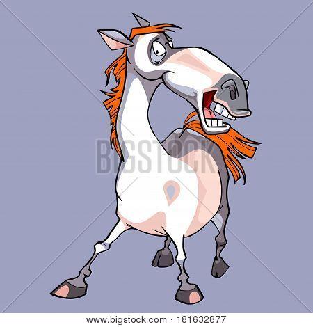cartoon funny white horse with a orange mane