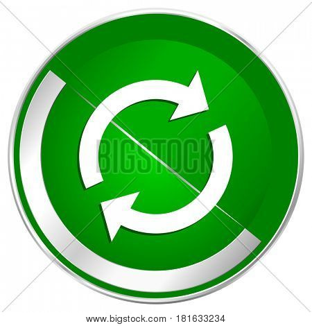 Reload silver metallic border green web icon for mobile apps and internet.