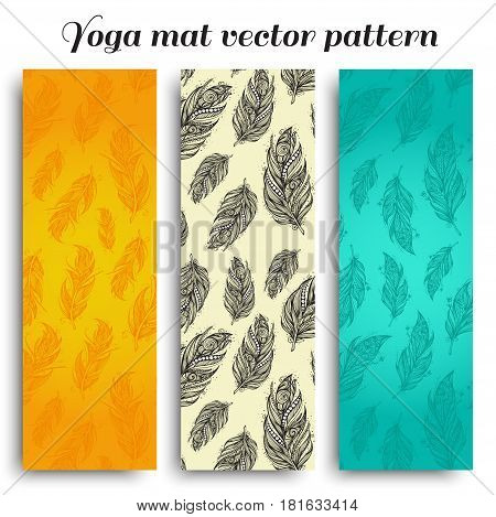 Set of yoga, pilates, meditation mats with hand drawn feathers pattern