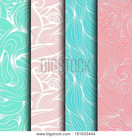 Set of wave patterns (seamlessly tiling).Seamless pattern can be used for wallpaper pattern fills web page backgroundsurface textures. Gorgeous seamless wave background