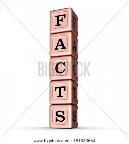 Facts Word Sign. Vertical Stack of Rose Gold Metallic Toy Blocks. 3D illustration isolated on white background.