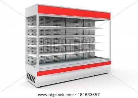 3d empty supermarket shelves