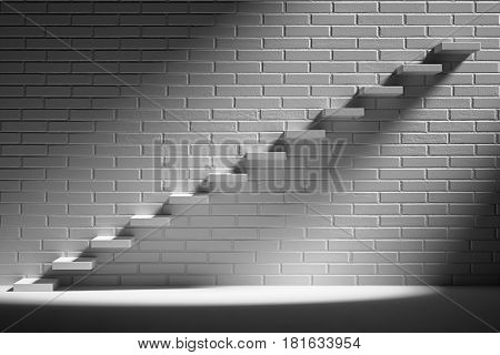 Forward achievement business rise progress way success and hope creative concept - Ascending stairs of rising staircase in dark empty room with white brick wall with light 3d illustration