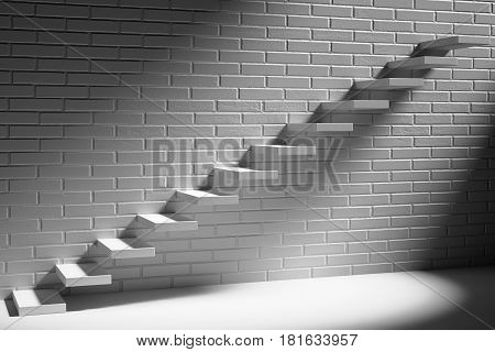Business rise forward achievement progress way success and hope creative concept - Ascending stairs of rising staircase in dark white empty room with white brick wall with light 3d illustration
