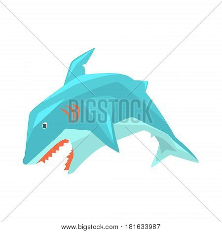 Great White Shark Marine Fish Living In Warm Sea Waters Cartoon Character Vector