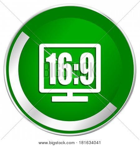 16 9 display silver metallic border green web icon for mobile apps and internet.