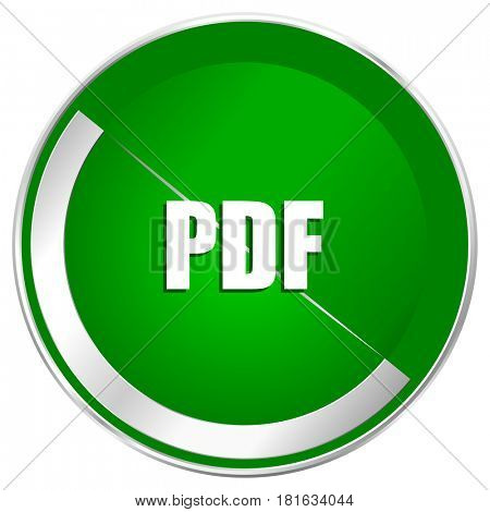 Pdf silver metallic border green web icon for mobile apps and internet.