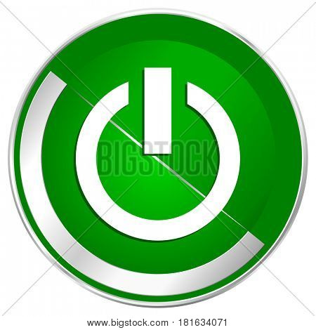Power silver metallic border green web icon for mobile apps and internet.