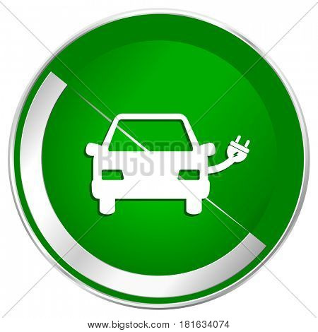 Electric car silver metallic border green web icon for mobile apps and internet.