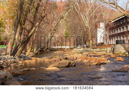 View of the Chattahoochee river and part of the hotel on its shore Helen USA