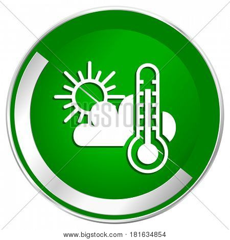Weather forecast silver metallic border green web icon for mobile apps and internet.