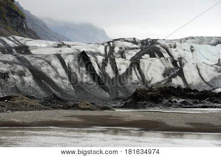 Vatnajokull glacial lagoon. Vatnajokull National Park, southeast Iceland, Europe.