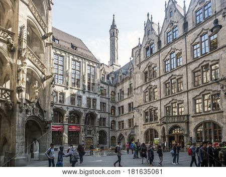 Details Of The Town Hall And The Square On The Marienplatz