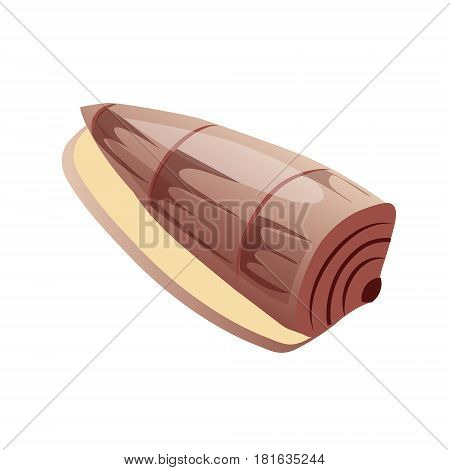 Brown sea spiral sink, an empty shell of a sea mollusk. Colorful cartoon illustration isolated on a white background