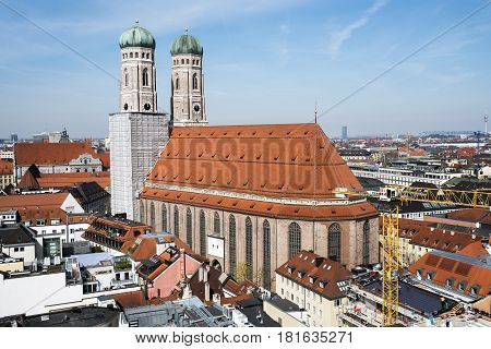 Munich Germany. March 29 2017.- aerial views of Munich from the clock tower of the Town Hall in the Marienplatze. View of the cathedral