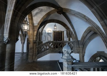 Munich Germany. March 29 2017.- Hallways and architecture inside the Town Hall on the Marienplatz