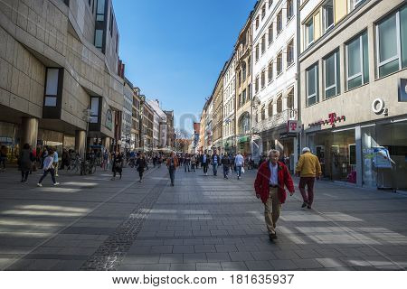 Munich-Bavaria-Germany. March 29 2017. View of Kaufingerstraße (Kaufinger street) with people walking. Near the Marienplatz