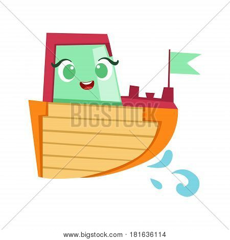 Green, Red And Orange Boat, Cute Girly Toy Wooden Ship With Face Cartoon Illustration. Funny Isolated Water Transportation Character With Big Eyes And Smile.